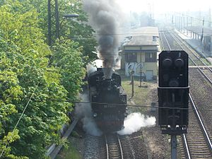 Radebeul–Radeburg railway - Train leaving Radebeul