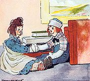 Raggedy Ann meets Raggedy Andy for the first time; illustrated by Johnny Gruelle