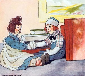 Raggedy Ann - Raggedy Ann meets Raggedy Andy for the first time; illustrated by Johnny Gruelle