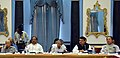 Raghubar Das, the Chief Minister of Kerala, Shri Pinarayi Vijayan, the Chief Minister of Maharashtra, Shri Devendra Fadnavis and the Chief Minister of Mizoram, Shri Lal Thanhawla, at the NITI Aayog Governing Council meet.jpg