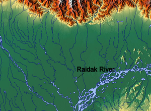 Raidāk River - Image: Raidak River map