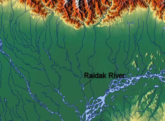 Raidāk River - Image: Raidak River map