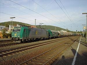 Main–Spessart railway - A freight train in Lohr station