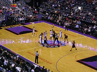 Toronto Raptors - A game between the Raptors and the Portland Trail Blazers during the 2004–05 season. The Raptors were moved to the NBA's Atlantic Division prior to the start of the season.