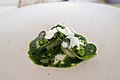 Raw Norwegian scallop, grilled sweet peas, Verbana (27169737601).jpg