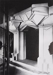 Raymond Duchamp-Villon, 1912, La Maison Cubiste (Cubist House) at the Salon d'Automne, 1912, detail of the entrance. Photograph by Duchamp-Villon.jpg