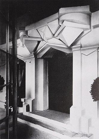 La Maison Cubiste - Raymond Duchamp-Villon, 1912, La Maison Cubiste (Cubist House) at the Salon d'Automne, 1912, detail of the entrance; Façade architecturale (destroyed)
