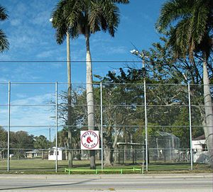 Lee County, Florida - Red Sox logo on the fence outside the City of Palms Park