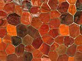 Red tile mosaic in Lake Merritt station, September 2019.JPG