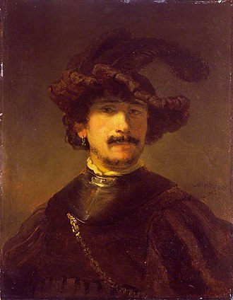 Bust of a Man Wearing a Gorget and Plumed Beret - Image: Rembrandt Bust of a Man in a Gorget and Plumed Bonnet