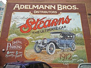 Sleeve valve - A replicated 1912 Stearns advertisement in downtown Boise, Idaho touting the Knight-type motor