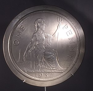 History of the British penny (1901–1970) - Plaster model for the 1937 penny