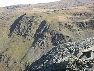 Rhosydd Quarry - The Rhosydd quarry tramway and incline, seen from nearby Croesor Quarry