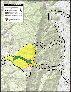 Battle of Rich Mountain - Map of Rich Mountain Battlefield core and study areas by the American Battlefield Protection Program.