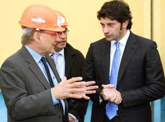 Kakha Kaladze - Kaladze (right) with the United States Ambassador to Georgia Richard Norland (left) in 2012