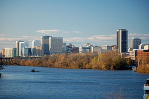 Richmond's skyline behind the James River