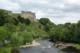 Richmond Castle - Richmond Castle from across the River Swale