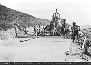 Ridge Route - Leveling concrete pavement on the original Ridge Route,1915