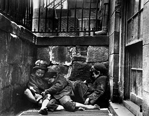Street children - Children sleeping in Mulberry Street, New York City, 1890 (Jacob Riis photo)