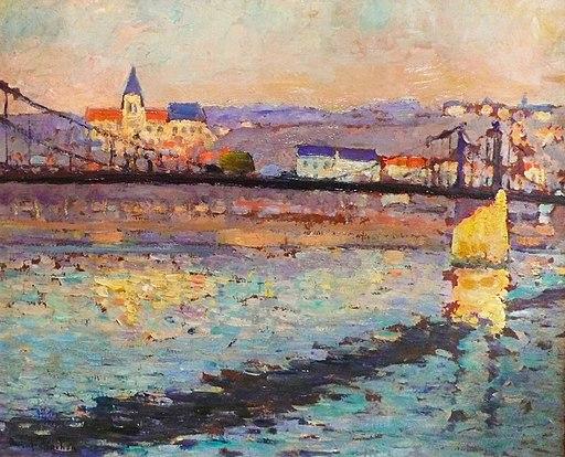 Robert Antoine Pinchon, 1904, Triel sur Seine, le pont du chemin de fer, 46 x 55 cm