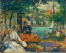 Normandija-Slikarstvo-Robert Antoine Pinchon, Un après-midi à l'Ile aux Cerises, Rouen, oil on canvas, 50 x 61.2 cm