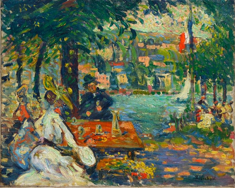 Robert Antoine Pinchon, Un après-midi à l'Ile aux Cerises, Rouen, oil on canvas, 50 x 61.2 cm