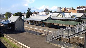 Rockdale railway station - Northbound view with Platform 1 in foreground