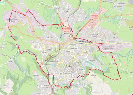 Carte en couleurs représentant les limites d'une commune.