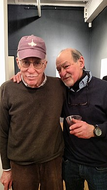 Roger Angell (left) with New Yorker cartoonist Edward Koren (right) in New York City, March 2015