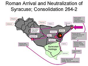 First Punic War - Roman arrival and neutralization of Syracuse.