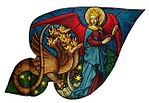 Rose window of Sainte-Chapelle (Paris) - Woman and dragon.jpg