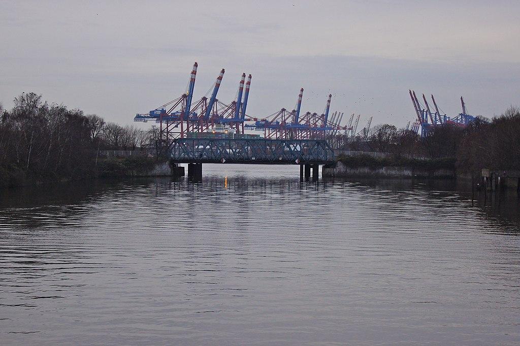 Puente Rosskanal Köhlbrand, Hamburgo (Alemania).