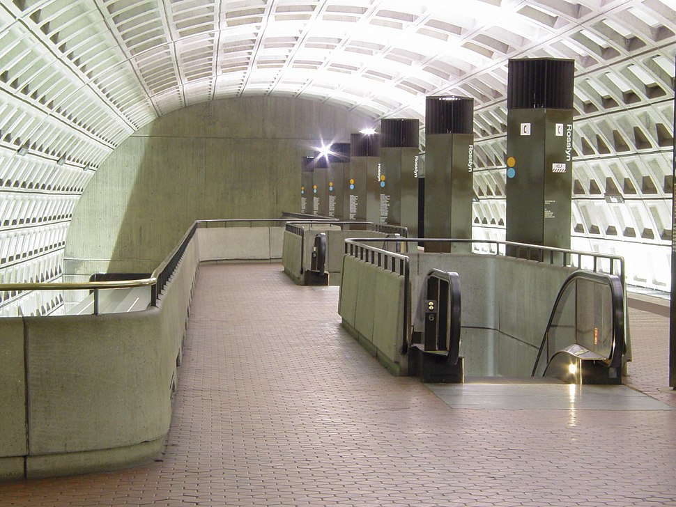 Rosslyn station showing upper level platform pylons