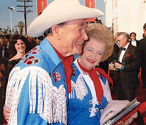 Dale Evans - Evans (right) with Roy Rogers at the 1989 Academy Awards