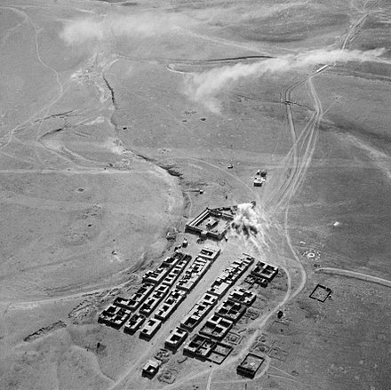 The fort at Rutbah under attack from H4-based Bristol Blenheims, 9 May 1941 Royal Air Force Operations in the Middle East and North Africa, 1939-1943. CM822.jpg