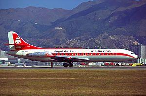 Royal Air Lao - Royal Air Lao Sud Aviation Caravelle III (XW-PNH) at Hong Kong's Kai Tak Airport in 1974