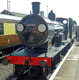 LSWR T9 class - Preserved T9 30120 in BR lined black livery operating at the Severn Valley Railway in 2012
