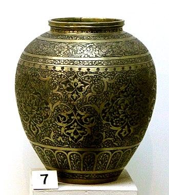 Azerbaijani art - Safavid era copper pitcher in National Museum of History of Azerbaijan