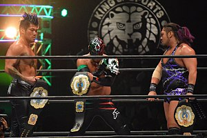 NEVER Openweight 6-Man Tag Team Championship - From left to right: Sanada, Bushi and Evil, Los Ingobernables de Japon, as the NEVER Openweight 6-Man Tag Team Champions in February 2017