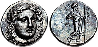 "Mausolus - Coinage of Maussolos as Achaemenid dynast of Caria. Head of Apollo facing/ Zeus Labrandos standing, legend MAYΣΣΩΛΛO (""Mausolos""). Circa 376–353 BC."