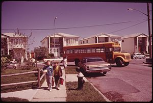 Arthur Tress - Tress's photograph of school children on their way home in Great Kills, on Staten Island, taken for the DOCUMERICA program