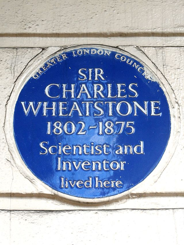 Charles Wheatstone blue plaque - Sir Charles Wheatstone 1802-1875 scientist and inventor lived here
