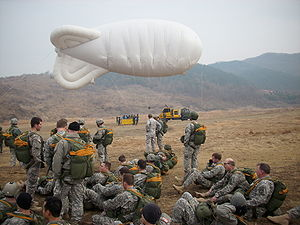 Special Operations Command Korea - SOCKOR soldiers conduct airborne jumps with a helium blimp and gondola at the ROK Drop Zone on 5 March 2009 during Exercise Key Resolve 09.