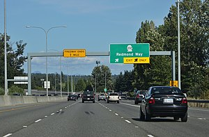 Washington State Route 520 - Image: SR 520 eastbound at SR 202, Redmond, Washington