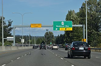 Washington State Route 520 - SR 520 eastbound approaching SR202 in Downtown Redmond