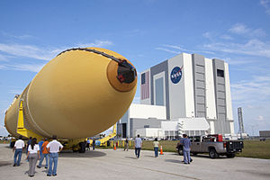 STS-135 - External Tank 138 in front of the Vehicle Assembly Building