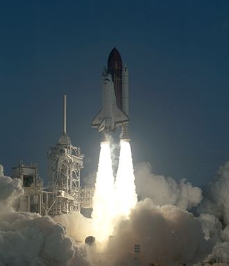 STS-41 - STS-41 launches from Kennedy Space Center, 6 October 1990.