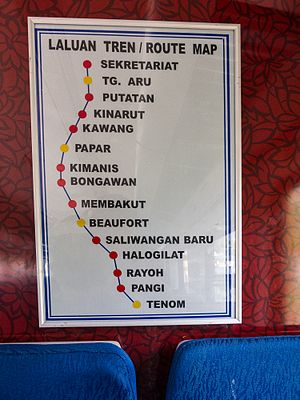 Sabah State Railway - Sabah State Railway route as of 2011.