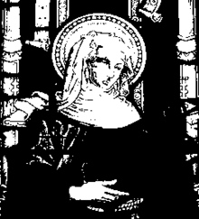 Saint Buriana depicted in a church window.png