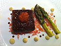 Salmon poached in a liqourice gel, asparagus, vanilla mayonnaise and golden trout roe (7349384830).jpg